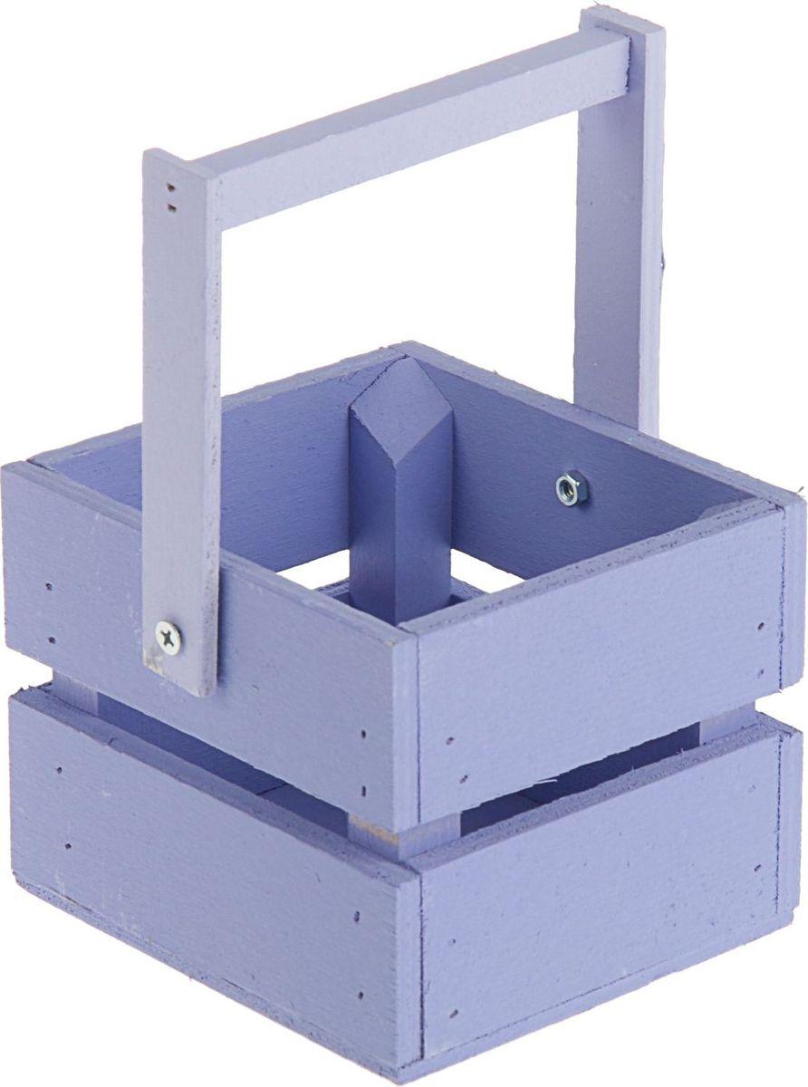 Кашпо ТД ДМ Ящик, со складной ручкой, цвет: фиолетовый, 11 х 12 х 9 см кашпо тд дм ящик любовь флористическое 20 х 16 х 9 5 см