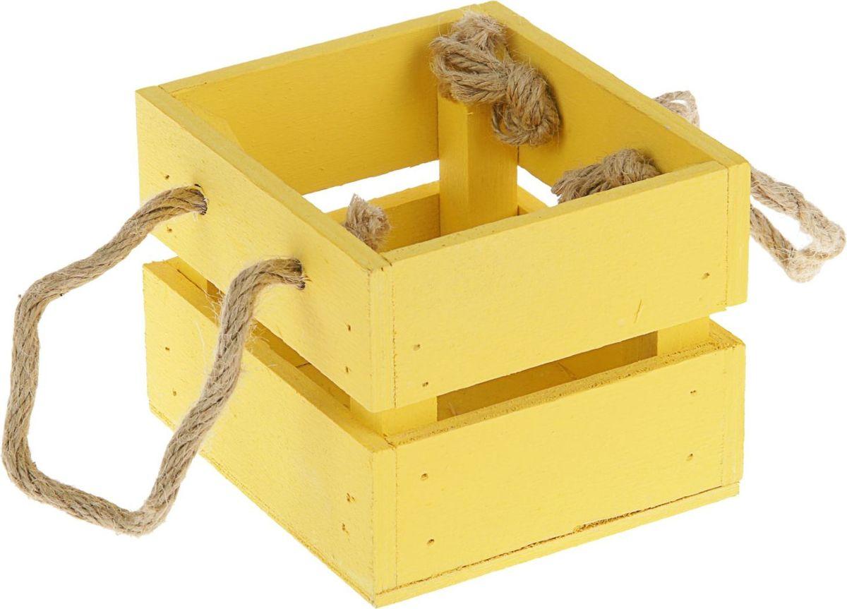 Кашпо ТД ДМ Ящик, цвет: желтый, 11 х 12 х 9 см кашпо тд дм ящик любовь флористическое 20 х 16 х 9 5 см