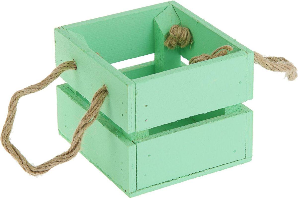 Кашпо ТД ДМ Ящик, цвет: зеленый, 11 х 12 х 9 см кашпо тд дм ящик любовь флористическое 20 х 16 х 9 5 см