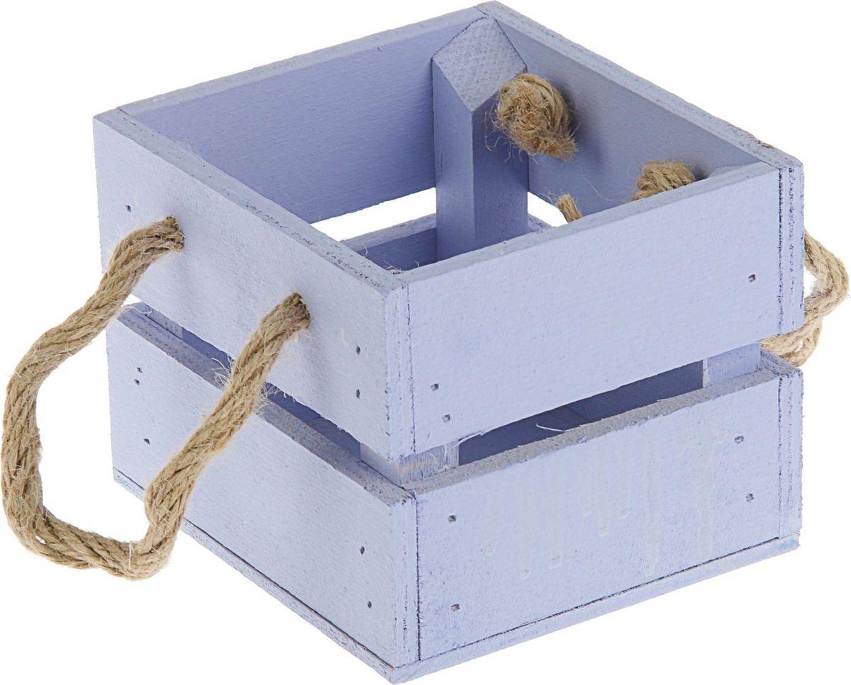 Кашпо ТД ДМ Ящик, цвет: фиолетовый, 11 х 12 х 9 см кашпо тд дм ящик любовь флористическое 20 х 16 х 9 5 см