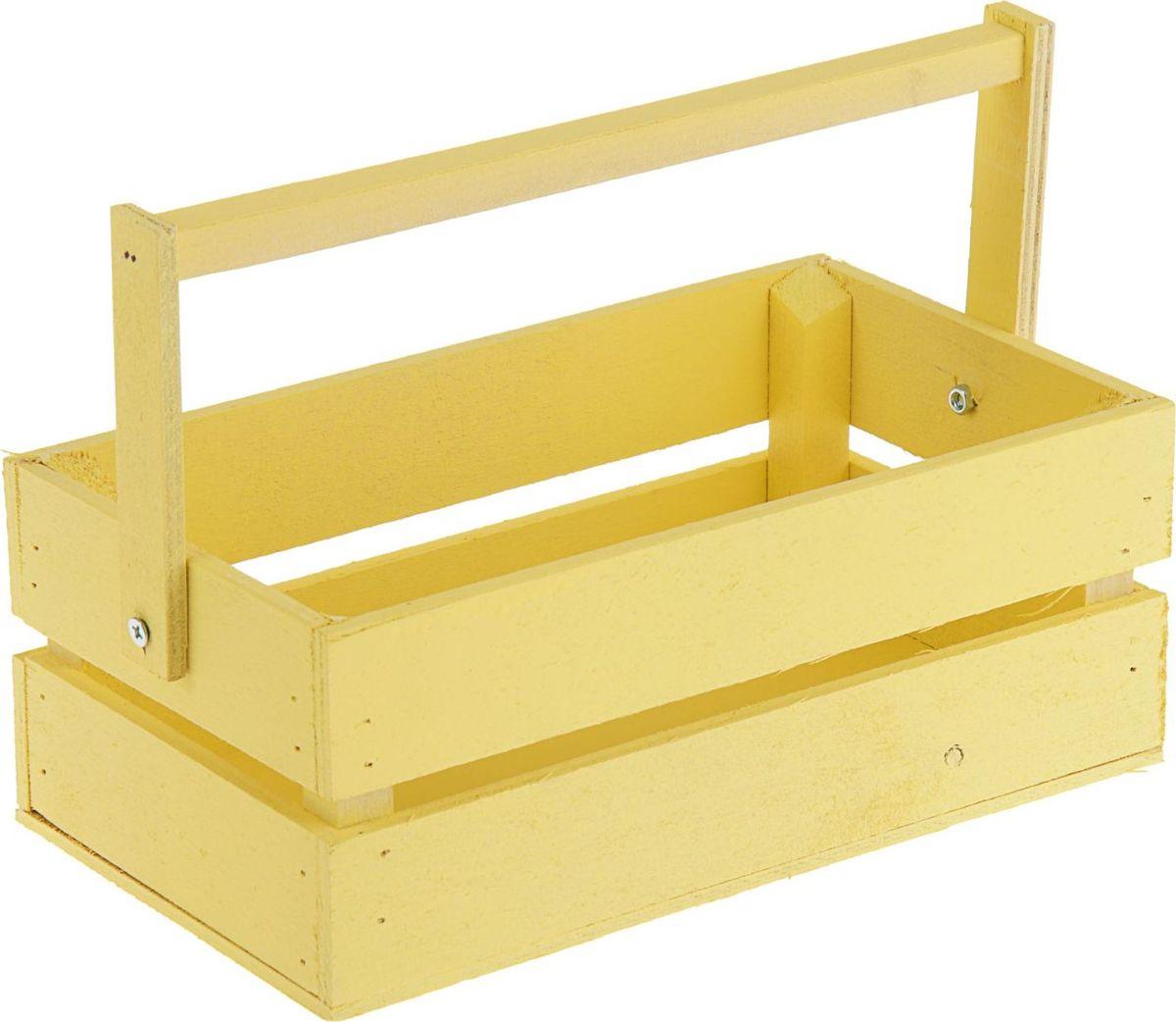 Кашпо ТД ДМ Ящик, со складной ручкой, цвет: желтый, 24,5 х 13,5 х 9 см кашпо тд дм ящик любовь флористическое 20 х 16 х 9 5 см