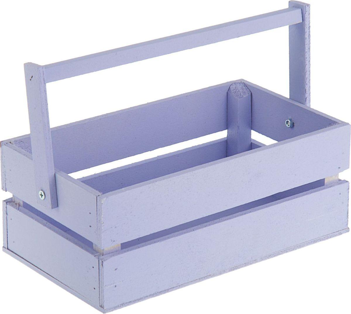 Кашпо ТД ДМ Ящик, со складной ручкой, цвет: фиолетовый, 24,5 х 13,5 х 9 см кашпо тд дм ящик любовь флористическое 20 х 16 х 9 5 см