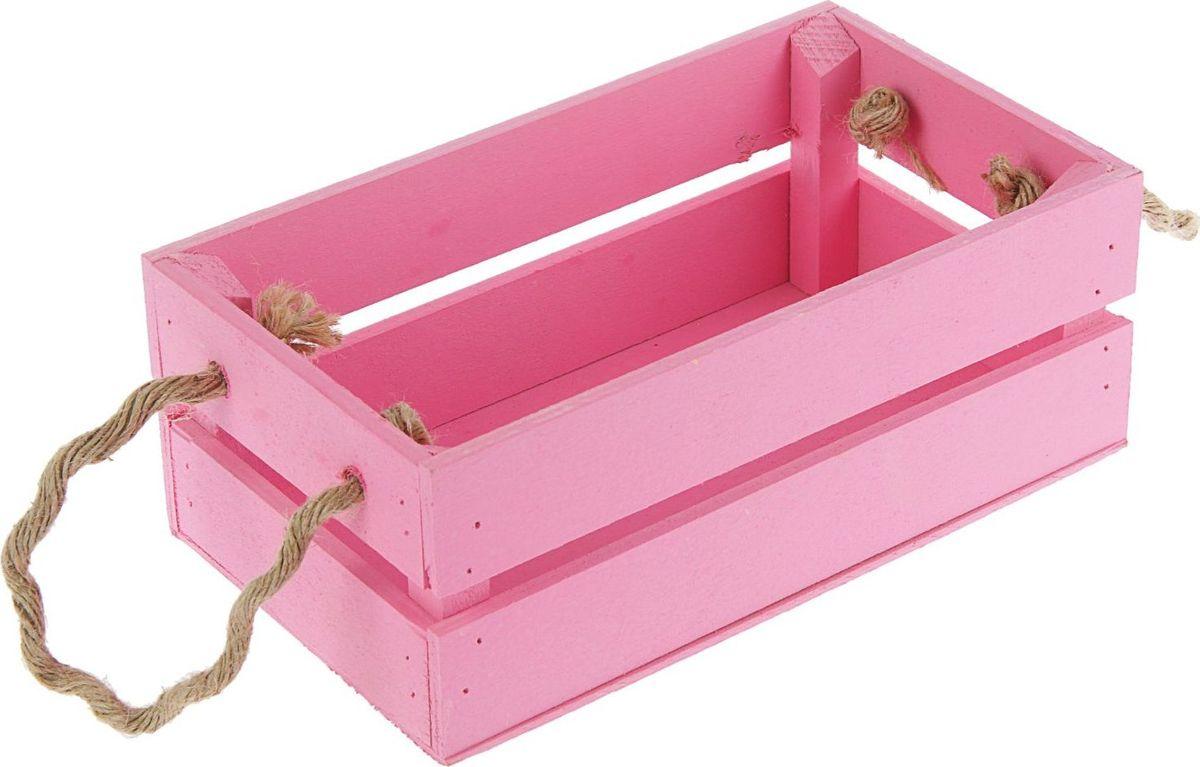 Кашпо ТД ДМ Ящик, цвет: розовый, 24,5 х 13,5 х 9 см кашпо тд дм ящик любовь флористическое 20 х 16 х 9 5 см