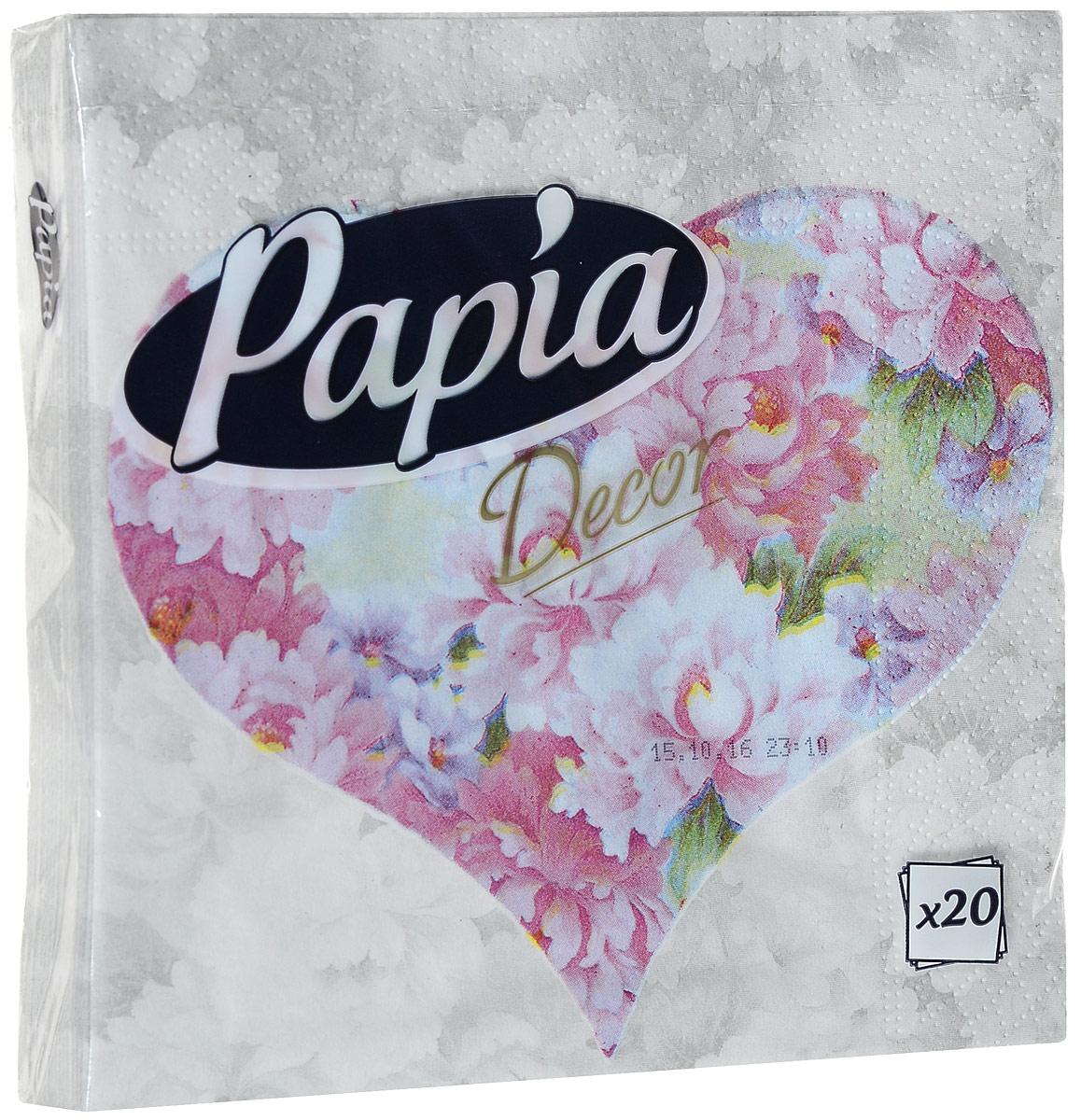 Салфетки бумажные Papia Decor, трехслойные, цвет: розовые пионы, 33 х 33 см, 20 шт салфетки pol mak детский мотив трехслойные 33 х 33 см 20 шт