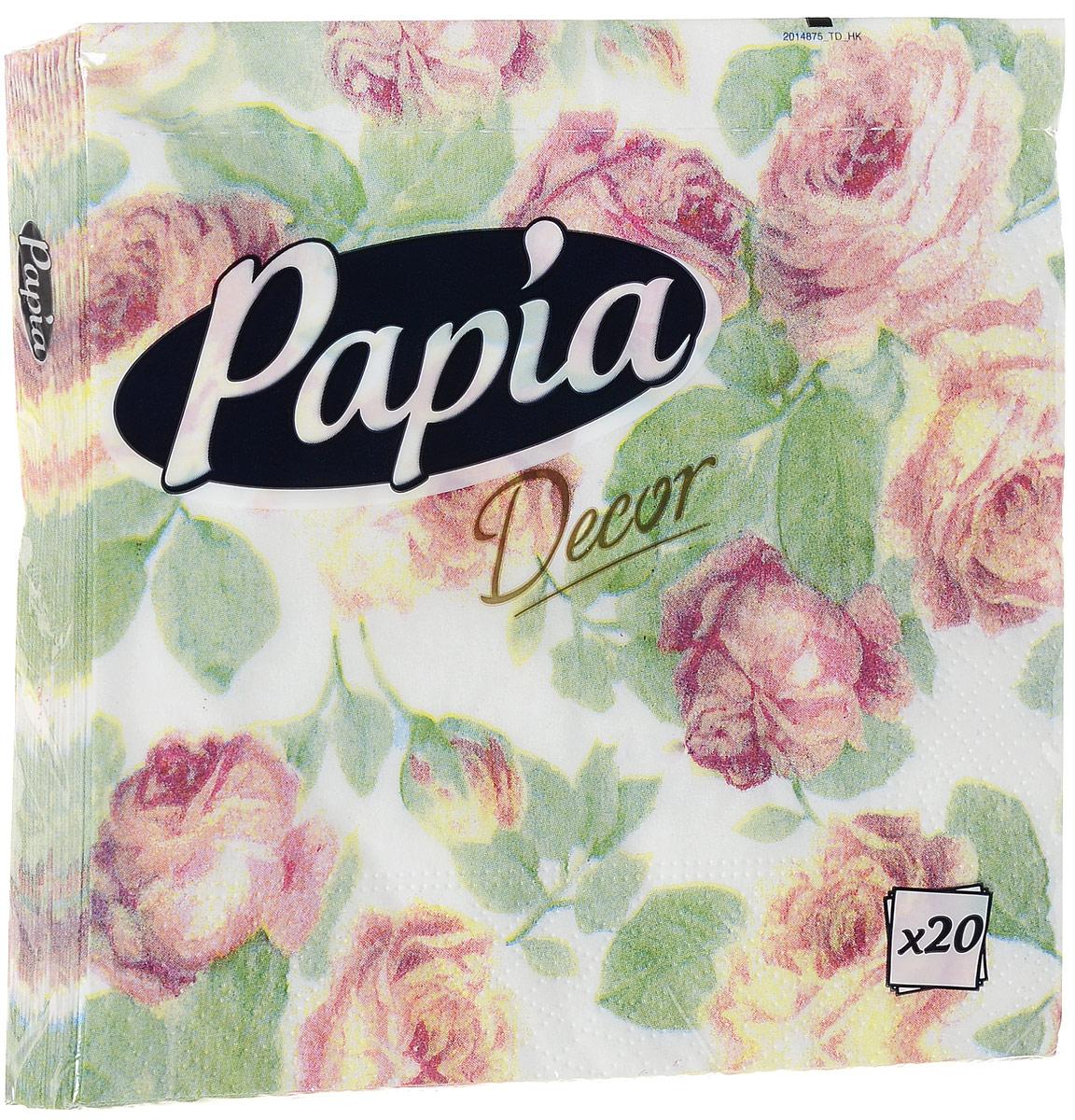 Салфетки бумажные Papia Decor, трехслойные, цвет: розовые розы, 33 х 33 см, 20 шт салфетки pol mak детский мотив трехслойные 33 х 33 см 20 шт
