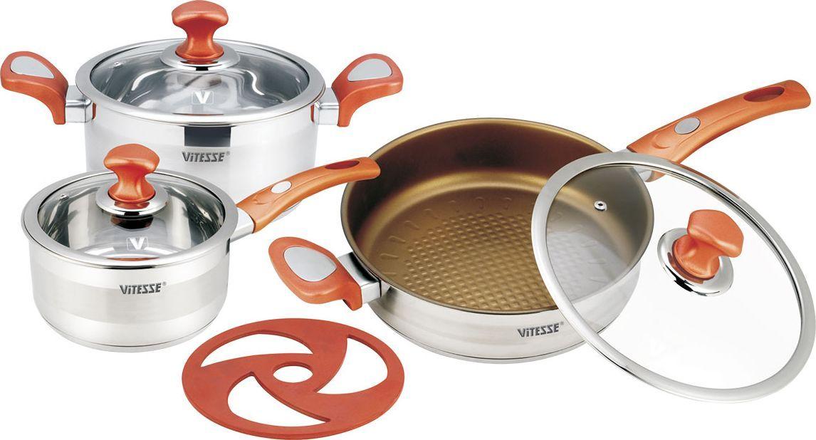 """Набор посуды """"Vitesse"""", цвет: красный, 7 предметов. VS-2024 + ПОДАРОК: Нож и складной дуршлаг"""
