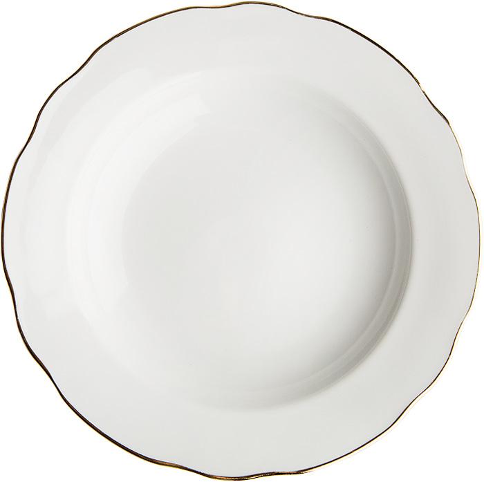 Тарелка глубокая Дулевский Фарфор Отводка золотом, диаметр 20 см салатник дулевский фарфор отводка золотом квадратный 550 мл