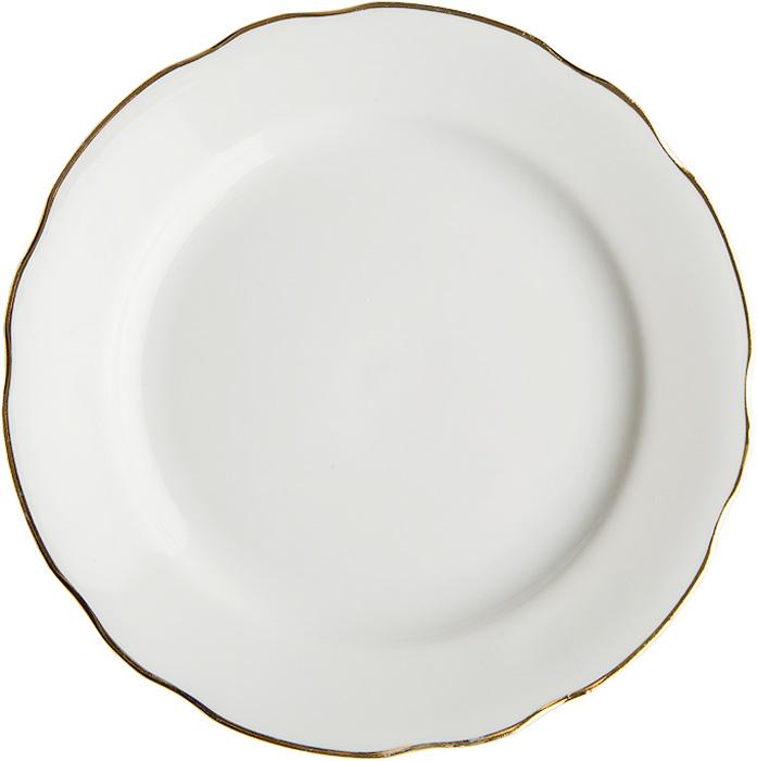 Тарелка мелкая Дулевский Фарфор Отводка золотом, диаметр 24 см салатник дулевский фарфор отводка золотом квадратный 550 мл