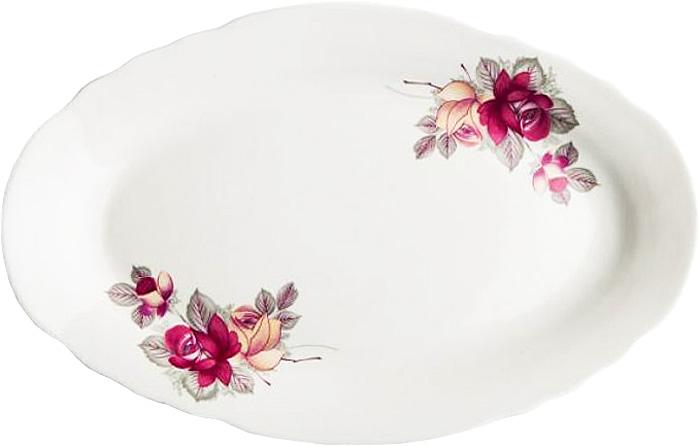 Блюдо овальное Дулевский Фарфор Дикая роза, 350 мл сахарница дулевский фарфор янтарь роза без отводки 600 мл