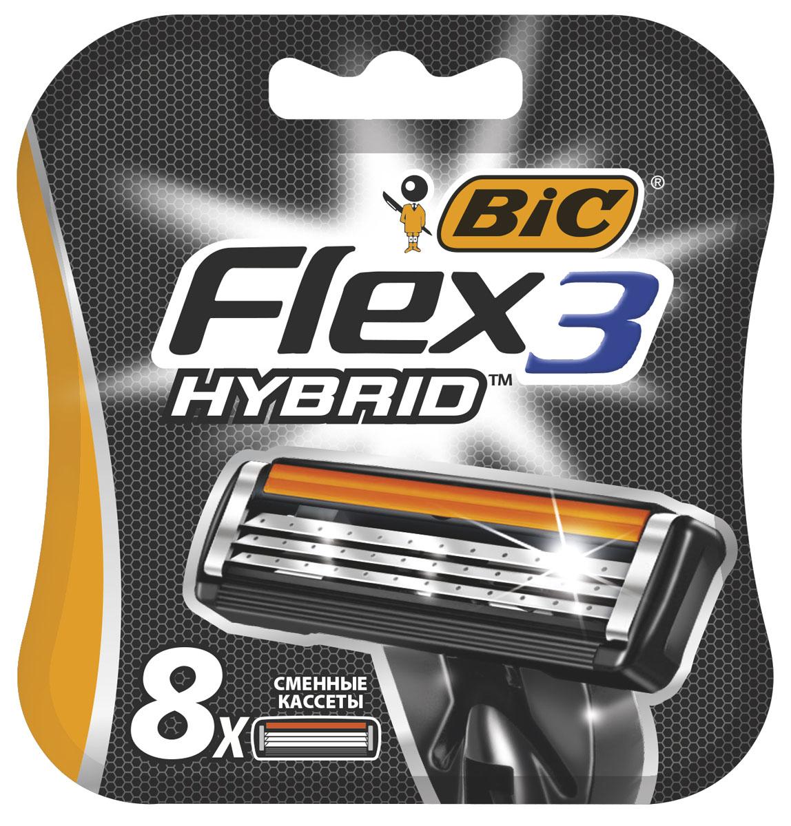 Bic Flex 3 Hybrid Сменные кассеты для бритья, 8 шт кассеты bic flex 3 hybrid 4шт