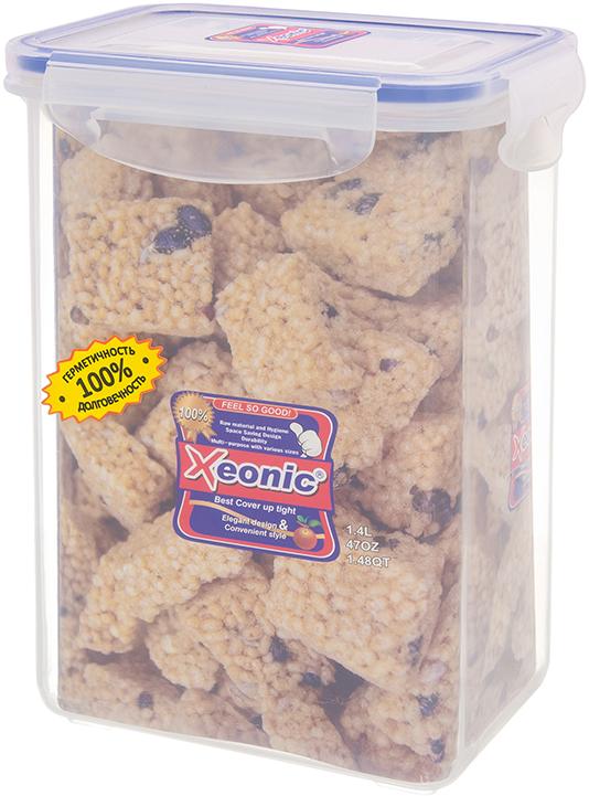 Контейнер Xeonic, цвет: прозрачный, синий, 1.4 л available from 10 11 container food rectangular xeonic 530 ml xeonic 810029