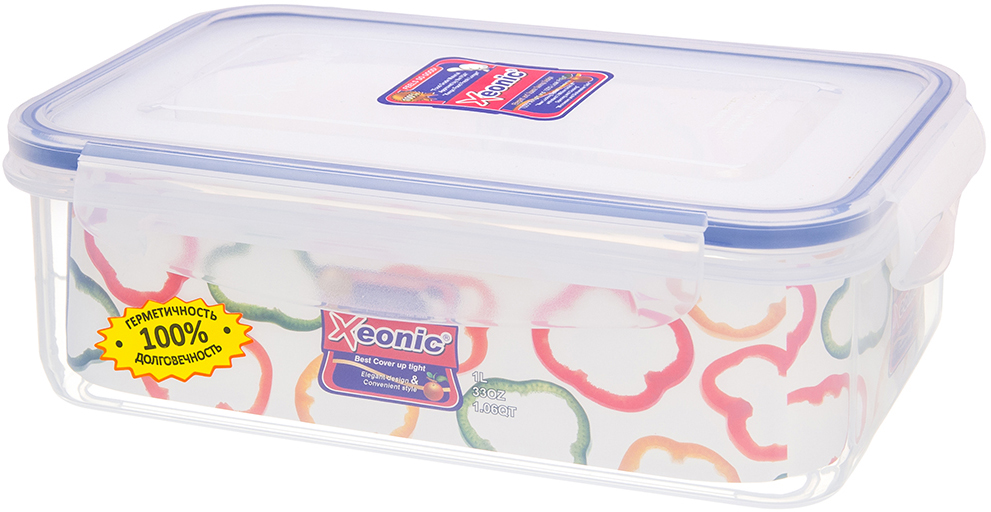 Контейнер Xeonic, цвет: прозрачный, синий, 1 л. 810018 available from 10 11 container food rectangular xeonic 530 ml xeonic 810029