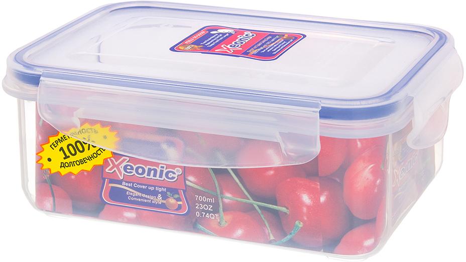 Контейнер Xeonic, цвет: прозрачный, синий, 700 мл available from 10 11 container food rectangular xeonic 530 ml xeonic 810029