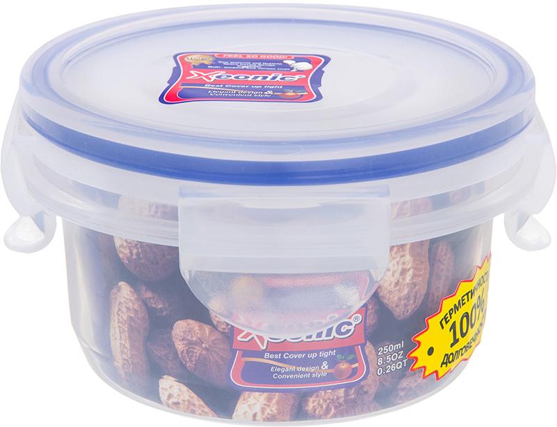 Контейнер пищевой Xeonic, 250 мл810029Герметичный контейнер для хранения продуктов Xeonic произведен из высококачественного полипропилена. Изделие термоустойчиво, может быть использовано в микроволновой печи и в морозильной камере, устойчиво к воздействию масел и жиров, не впитывают запах. Контейнер удобен в использовании, долговечен, легко открывается и закрывается. Герметичность обеспечивается четырьмя защелками и силиконовой прослойкой на крышке. Контейнер компактен и не займет много места. Можно мыть в посудомоечной машине. Диаметр по верхнему краю: 9,5 см. Диаметр дна: 7,5 см. Высота с учетом крышки: 6,2 см.