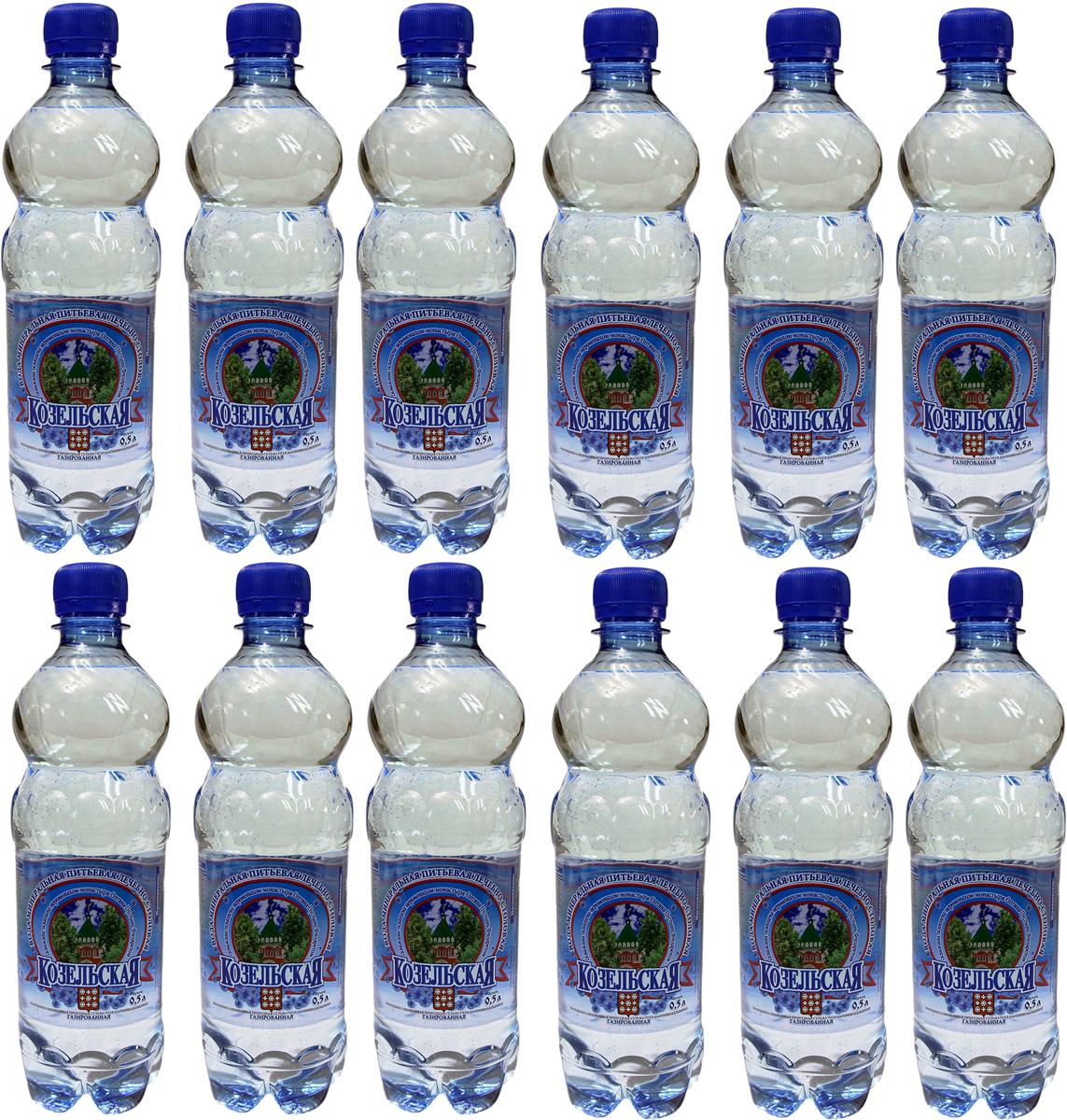 Козельская вода минеральная газированная, 12 шт по 0,5 л