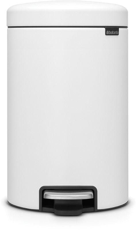 Бак мусорный Brabantia NewIcon, с педалью, цвет: белый, с напылением, 12 л. 113789 бак мусорный brabantia с педалью цвет серый металлик 12 л 214660