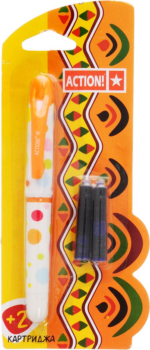 Action! Ручка перьевая с двумя картриджами цвет корпуса оранжевый