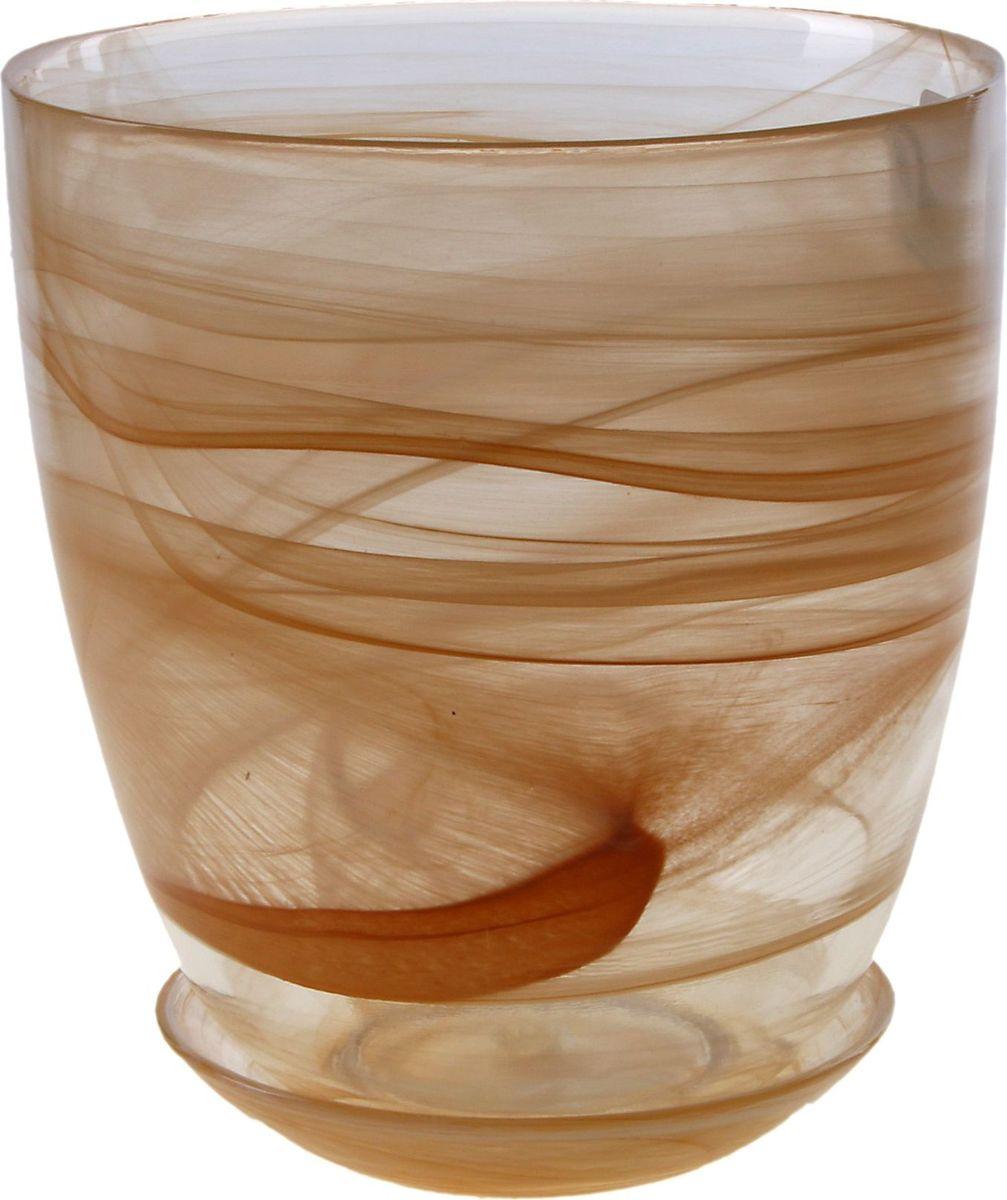 Кашпо NiNaGlass Гармония, с поддоном, цвет: коричневый, 2 л кашпо ароматы лета 1 5л с поддоном квадратный