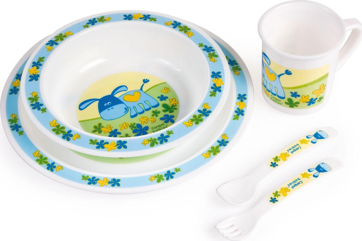 Canpol babies Набор посуды для кормления цвет голубой 5 предметов недорого
