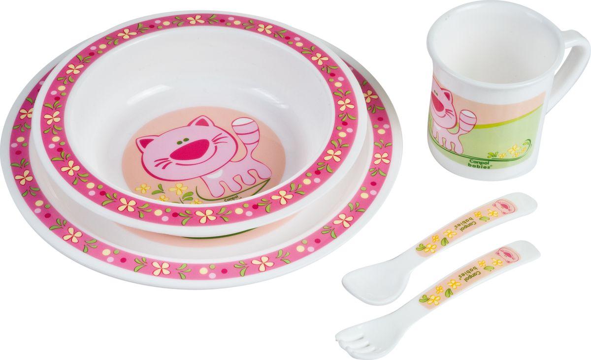 Canpol babies Набор посуды для кормления цвет розовый 5 предметов недорого