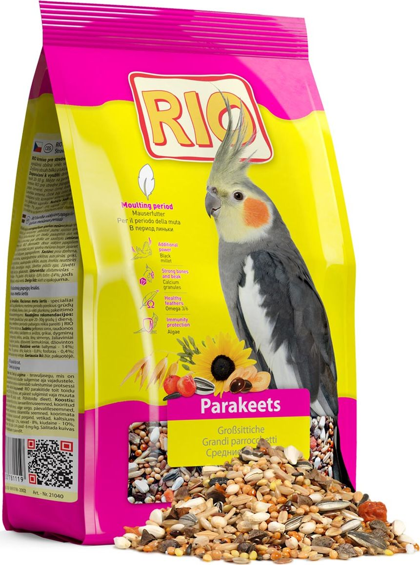 Корм для средних попугаев Rio, в период линьки, 500 г