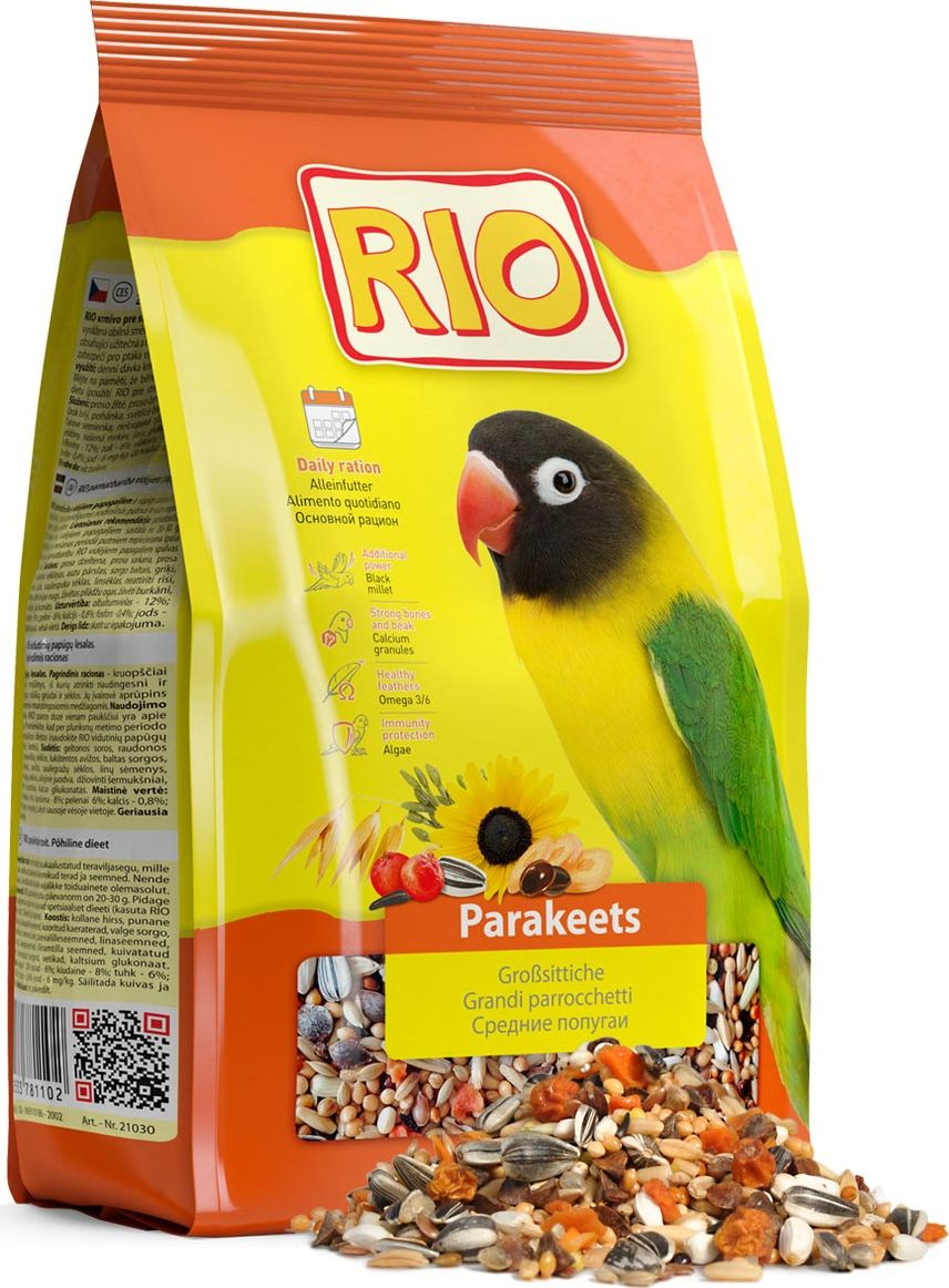 Корм для средних попугаев Rio Основной рацион, 1 кг rio rio корм для средних попугаев основной 500 г