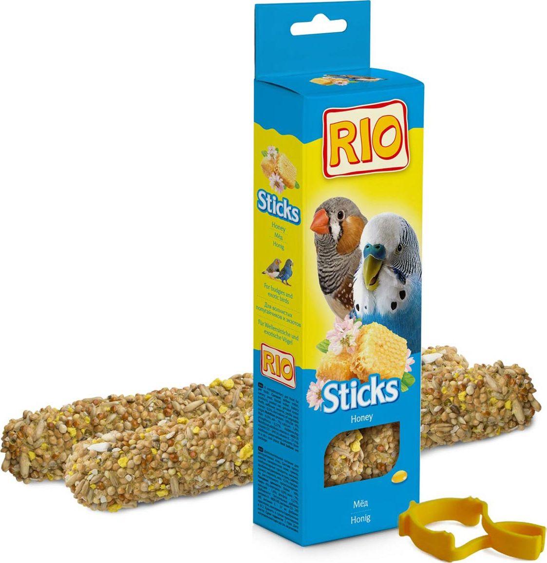 Лакомство для волнистых попугайчиков и экзотов RIO Sticks, с медом, 2 х 40 г rio rio палочки для канареек с медом и полезными семенами 2 шт 40 г
