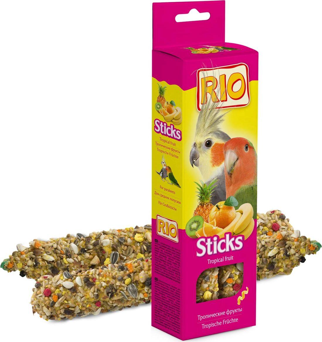 Палочки для средних попугаев Rio, с тропическими фруктами, 2 х 75 г rio rio палочки для средних попугаев с тропическими фруктами 2 шт 75 г