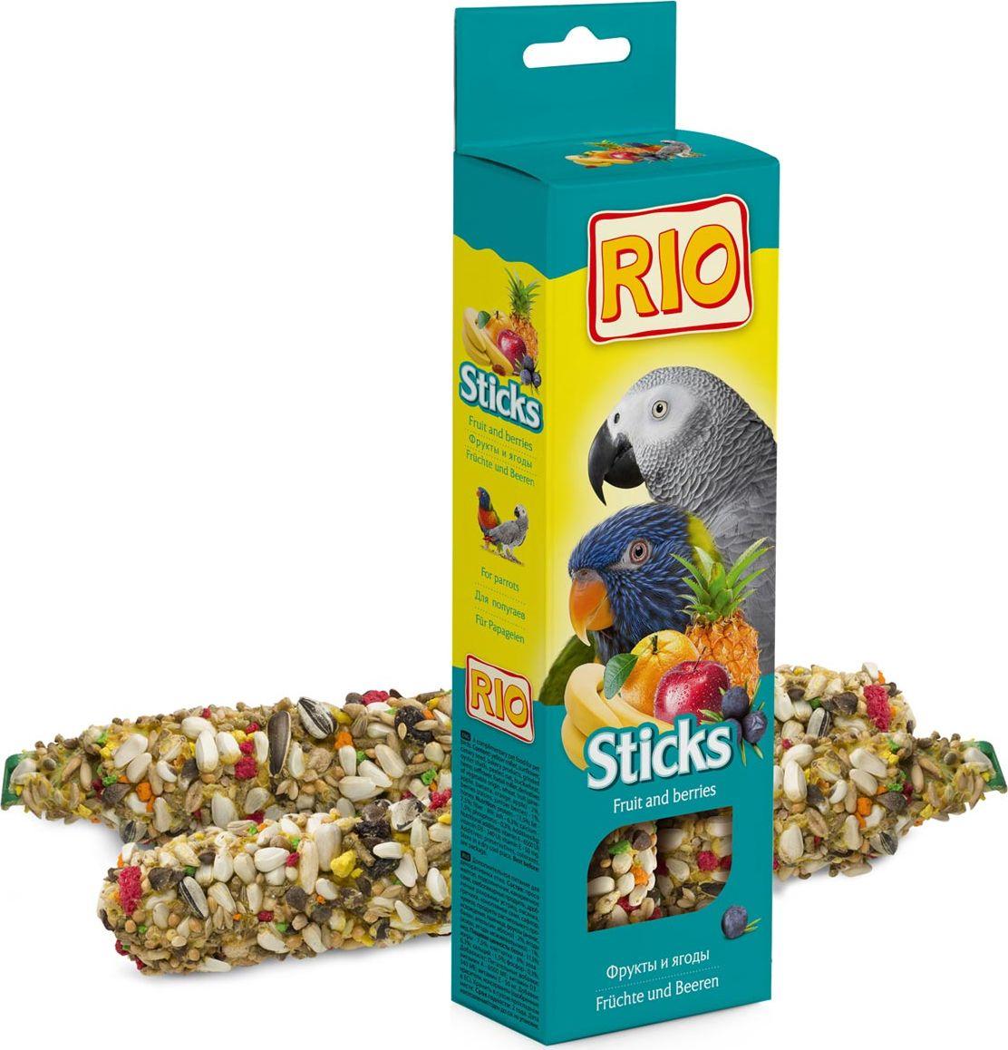 Лакомство для попугаев RIO, палочки, с фруктами и ягодами, 75 г, 2 шт rio rio палочки для средних попугаев с тропическими фруктами 2 шт 75 г