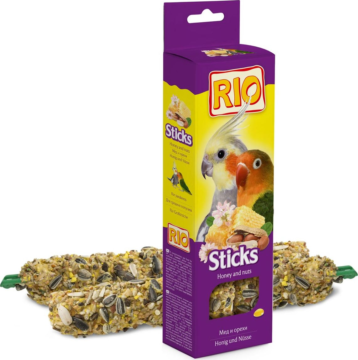 Лакомство для средних попугаев RIO Sticks, с медом и орехами, 2 х 75 г rio rio палочки для канареек с медом и полезными семенами 2 шт 40 г