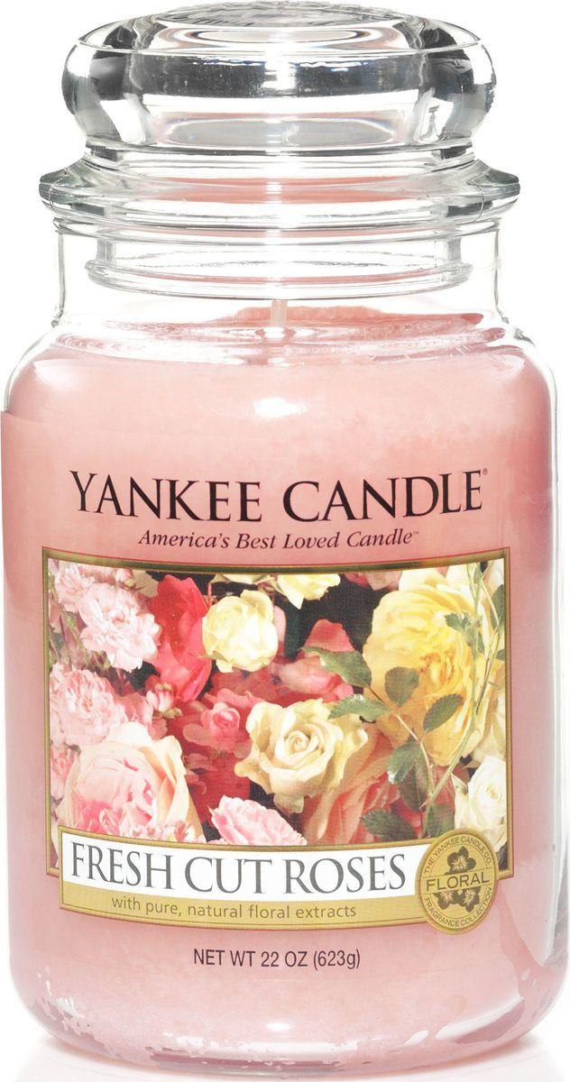 Ароматическая свеча Yankee Candle Свежесрезанные розы / Fresh Cut Roses, 110-150 ч свеча столбик уютный мускус actuel ароматическая