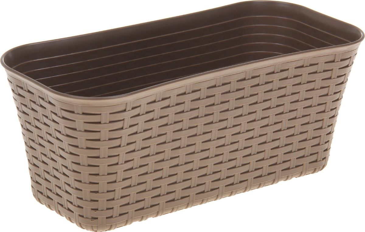 Ящик для цветов Idea Ротанг, балконный, цвет: бежевый, 40 х 18 х 16 см балконный ящик idea алиция с поддоном цвет терракотовый 60 х 18 см