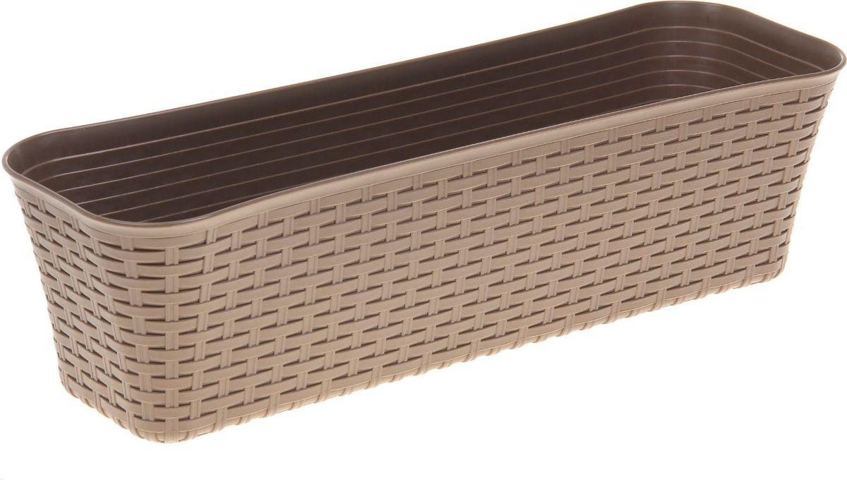 Ящик для цветов Idea Ротанг, балконный, цвет: бежевый, 60 х 18 х 16 см балконный ящик idea алиция с поддоном цвет терракотовый 60 х 18 см