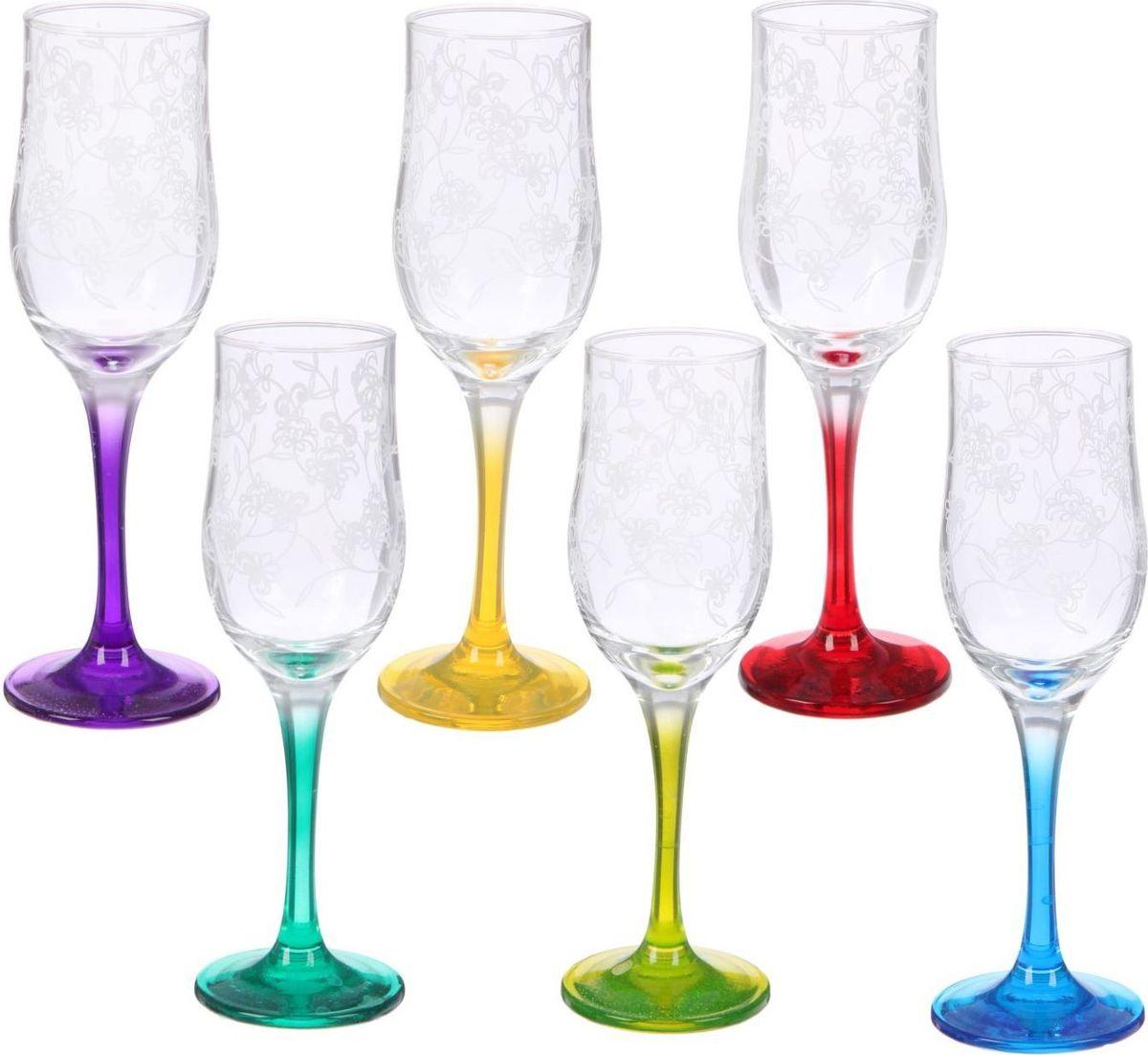 Набор бокалов для шампанского Декостек Рrimavera, 200 мл, 6 шт. 2195436 garda decor набор бокалов для молодоженов