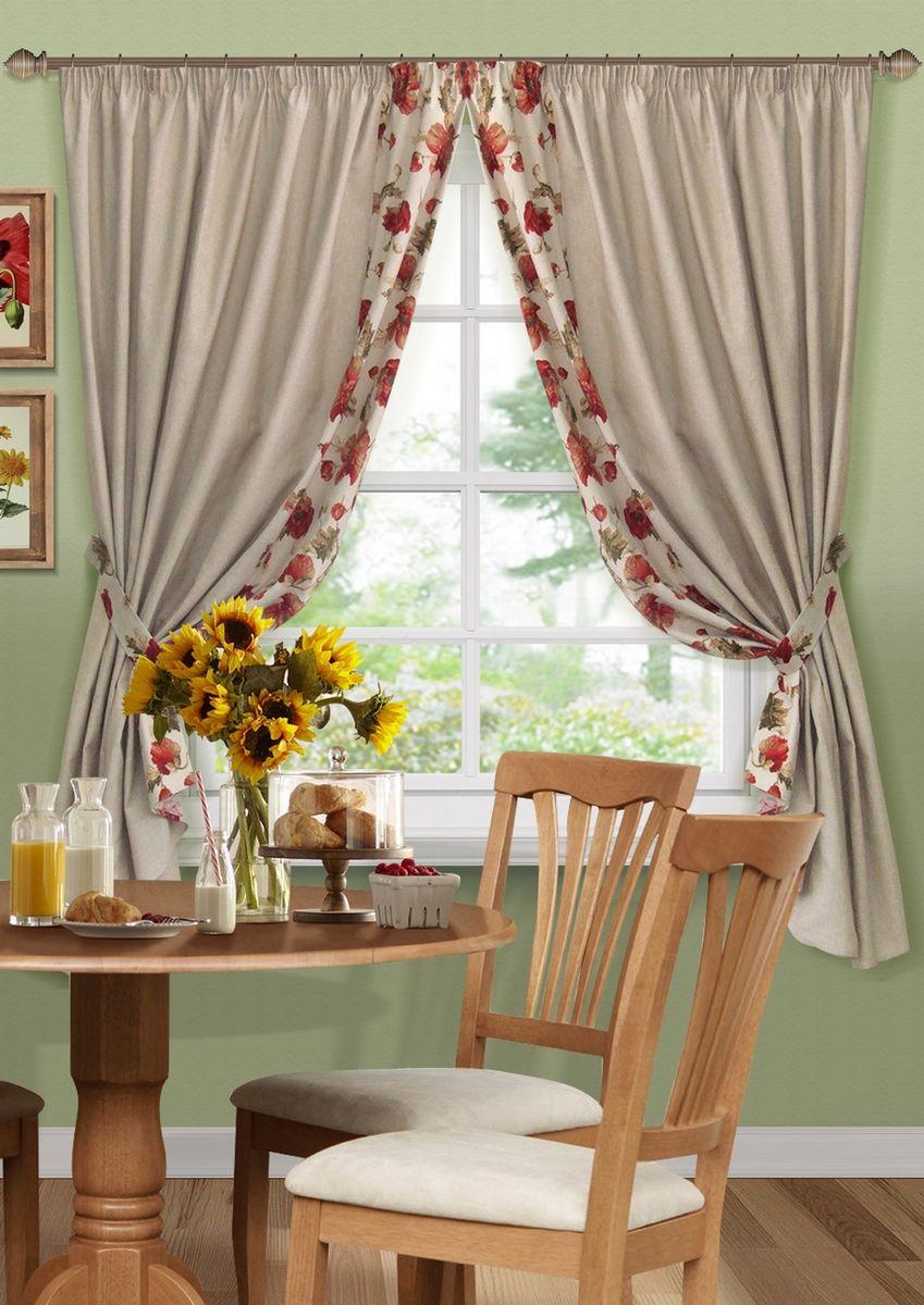 Комплект штор для кухни KauffOrt Кардинал, на ленте: 2 портьеры 175 x 175 см, 2 подхвата шторы для кухни drdeco комплект штор basilic дизайн 9