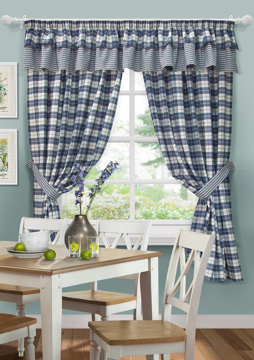 "Комплект штор для кухни KauffOrt ""Коттедж"", на ленте: 2 шторы 140 x 186 см, ламбрекен 288 х 40 см, 2 подхвата, цвет: синий"