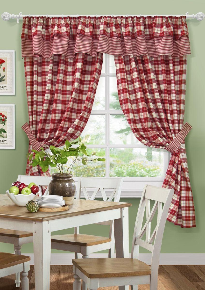 """Комплект штор для кухни KauffOrt """"Коттедж"""", на ленте: 2 портьеры 136 x 186 см, ламбрекен 276 х 40 см, 2 подхвата, цвет: красный"""