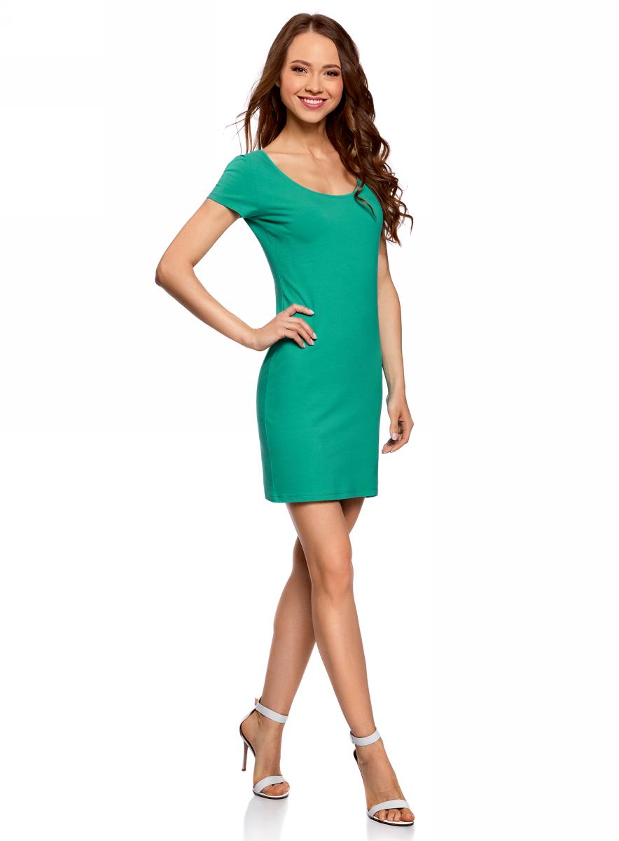 Платье oodji Ultra платье короткое с круглым вырезом и анималистическим принтом