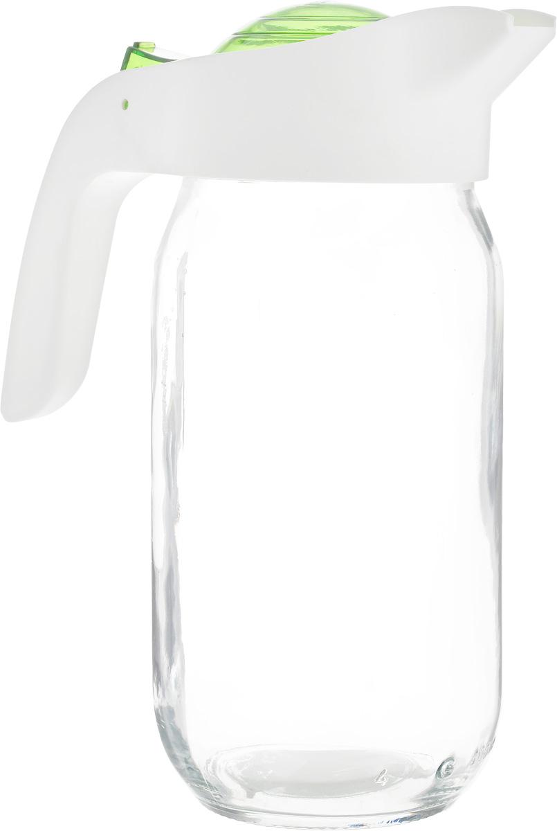 Кувшин Herevin, цвет: прозрачный, белый, зеленый, 1 л. 111271-002111271-002Кувшин Herevin, выполненный из высококачественного прочного стекла, элегантно украсит ваш стол. Кувшин оснащен удобной пластиковой ручкой и откидной крышкой. Форма носика обеспечивает наливание жидкости без расплескивания. Пластиковый верх легко откручивается, что позволяет без труда наполнить емкость. Изделие прекрасно подойдет для подачи воды, сока, компота и других напитков. Диаметр (по верхнему краю): 8,5 см. Высота кувшина: 20,5 см.