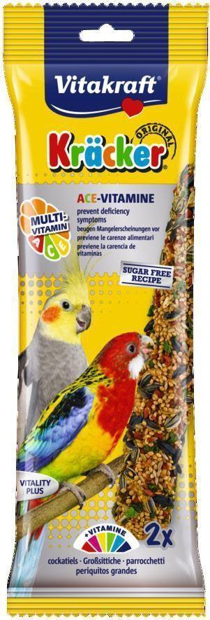 Крекеры для австралийских попугаев Vitakraft, мультивитамин, 2 шт21196Питательный крекер, обогащенный витаминами. Стимулирует процессы роста, защищает кожу, регулирует обменные процессы, влияет на остроту зрения. Мотивирует птицу самостоятельно добывать себе зерно, как в дикой природе. Состав: злаки, семена, компоненты растительного происхождения, мед, масла и жиры, минералы. Пищевая ценность на 100 г продукта: растительный протеин - 12,1 г, растительные жиры - 9,5 г, клетчатка - 9,7 г, зола - 6,7 г. Товар сертифицирован.