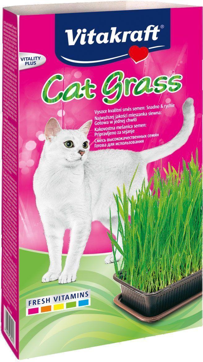 Смесь для проращивания свежей травы Vitakraft, для кошек, лоток, 120 г смесь 120
