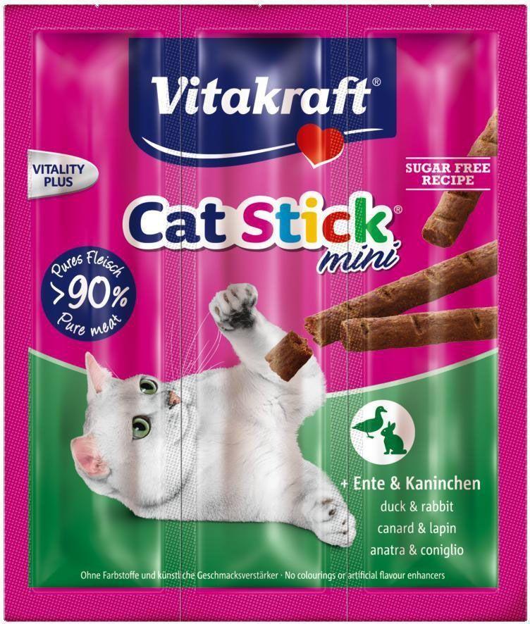 """Лакомство для кошек Vitakraft """"Cat-Stick Mini"""", мясные колбаски с уткой и кроликом, 3 х 6 г"""
