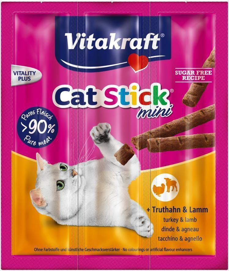 """Лакомство для кошек Vitakraft """"Cat-Stick Mini"""", мясные колбаски с индейкой и ягненком, 3 х 6 г"""