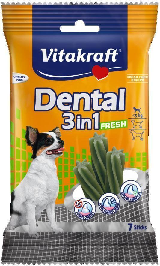 "Лакомство Vitakraft ""Dental 3in1 Fresh"" для собак до 5 кг, жевательные палочки, 7 шт"