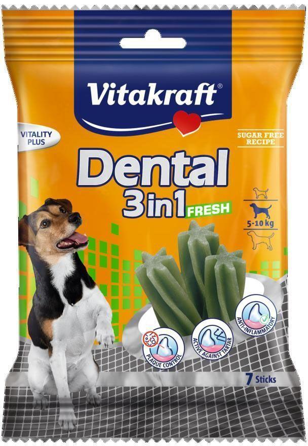 "Лакомство Vitakraft ""Dental 3in1 Fresh"" для собак 4-10 кг, жевательные палочки, 7 шт"
