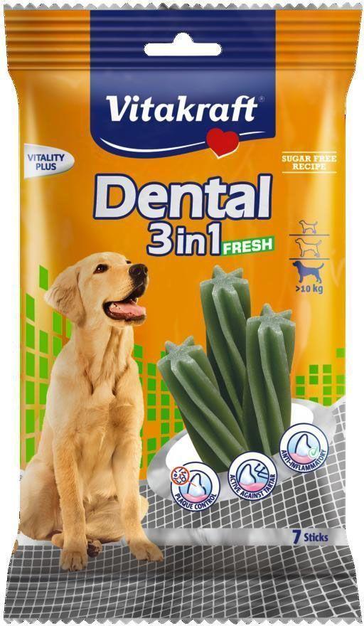"Лакомство Vitakraft ""Dental 3in1 Fresh"" для собак от 10 кг, жевательные палочки, 7 шт"