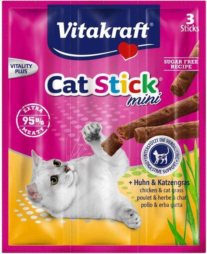 """Лакомство для кошек Vitakraft """"Cat-Stick Mini"""", мясные колбаски с курицей и травами, 3 х 6 г"""