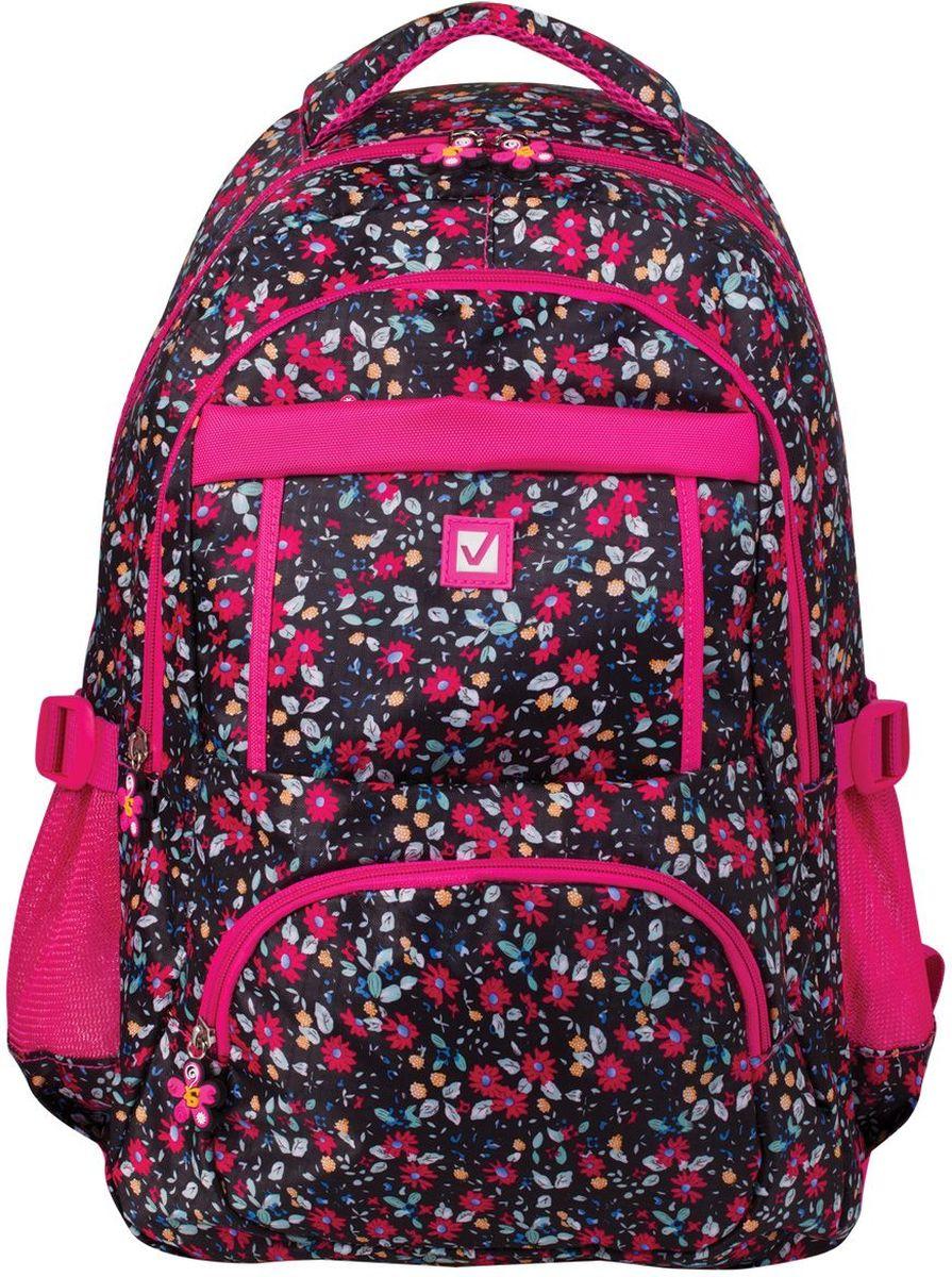 Brauberg Рюкзак Цветы цвет черный розовый brauberg brauberg рюкзак корал розовый