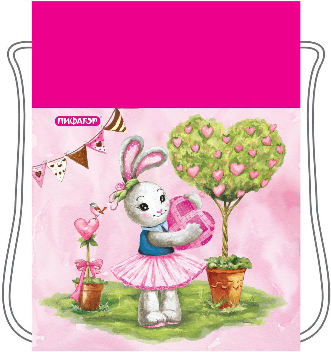 Пифагор Сумка для детской обуви Зайка цвет розовый 226528