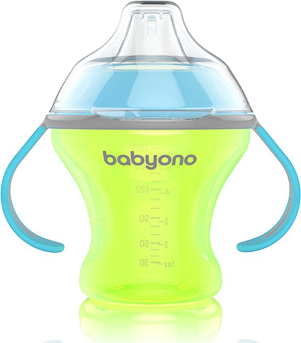 BabyOno Поильник непроливайка Natural Nursin с мягким носиком 180 мл цвет желтый